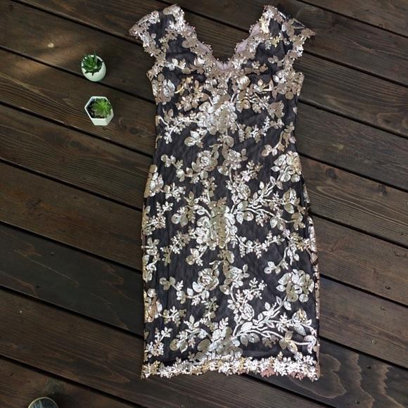 Tadashi Shoji Dresses & Skirts - Tadashi Shoji Size 6 Lace Sequin Pink Black Dress